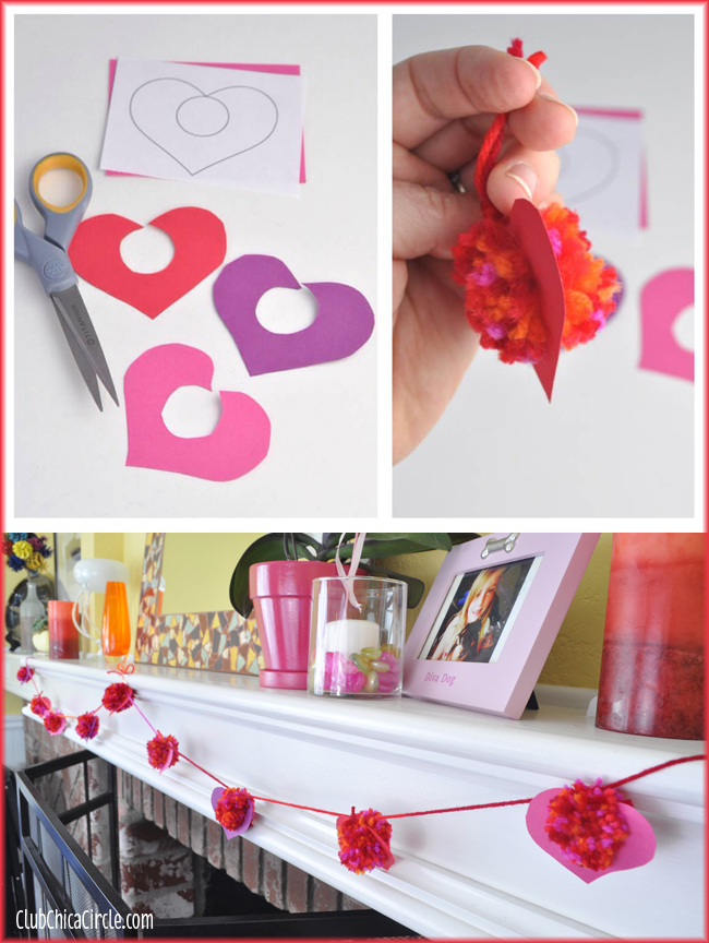 Valentines Pom Pom Garland Craft Idea