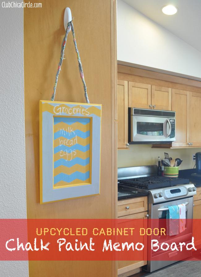 Cabinet Door transformed into Kitchen Chalkboard