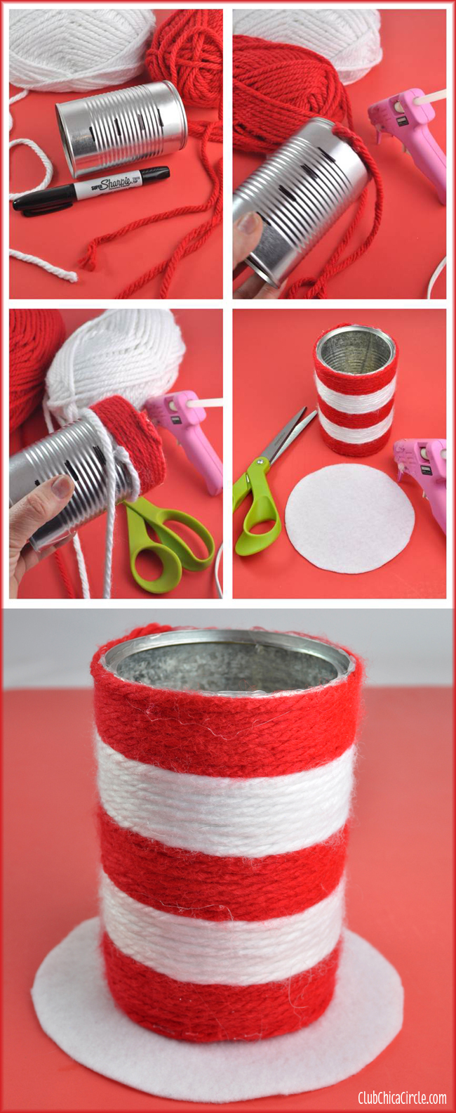 Dr Suess Wrapped Yarn Hat Pencil Cup Craft DIY