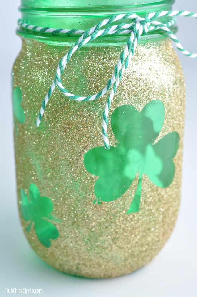 Glittery shamrock St. Patrick's Day mason jar craft idea