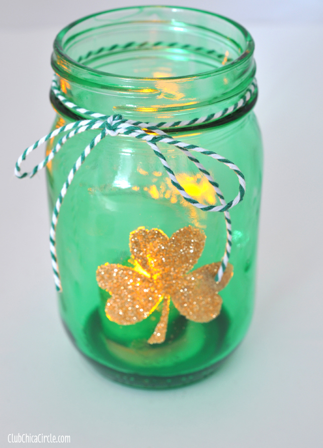 Glowing gold glittery shamrock tinted mason jar