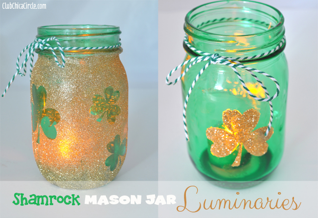 Gold glitter shamrock mason jar luminaries diy