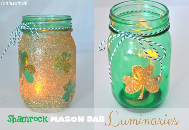 Gold glitter shamrock mason jar luminaries diy