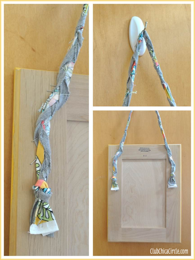Hanging an upcycled cabinet door with fabric braid