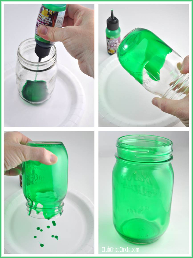 Shamrock mason jar luminaries mom 4 real for Best paint to use on glass jars