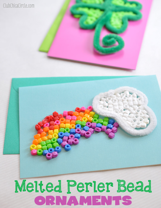 Melted Perler Beads St. Patrick's Day Cards