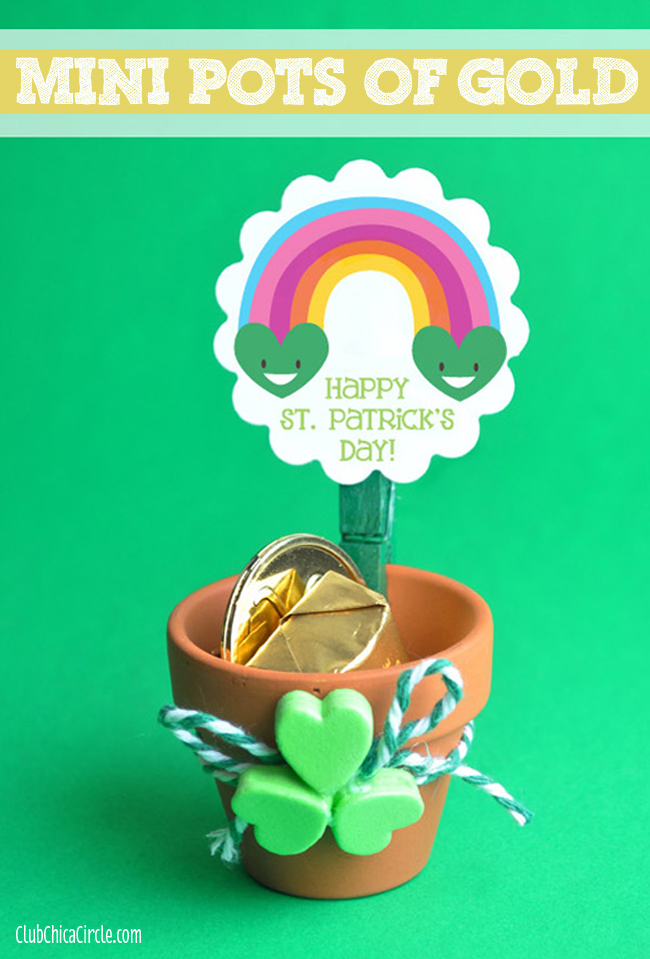Mini Pot of Gold craft idea with Smiling Rainbow Printable