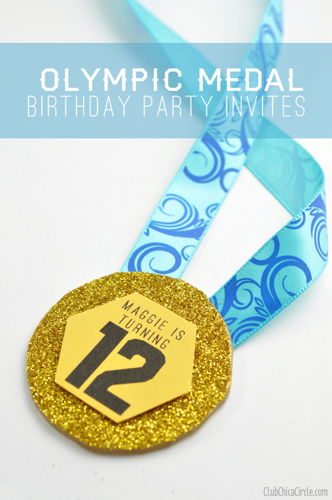 Olympic birthday party medal invites