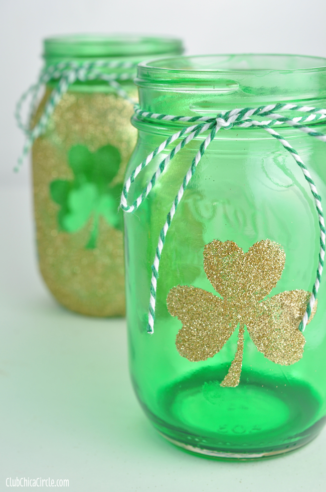 Shamrock tinted mason jar craft idea
