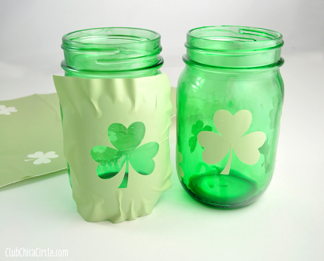 Shamrock vinyl template for gold glitter stencil
