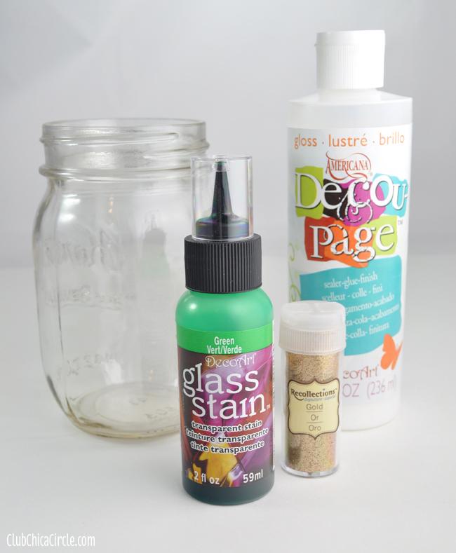Tinted mason jar supplies