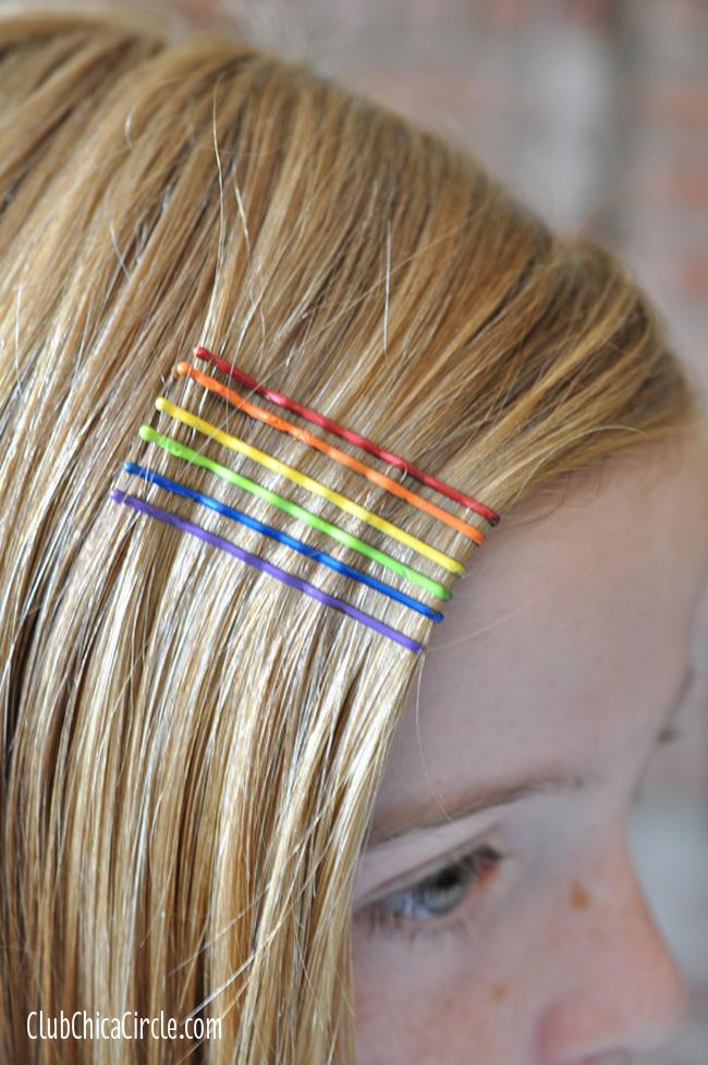 painted rainbow bobby hairpins craft idea
