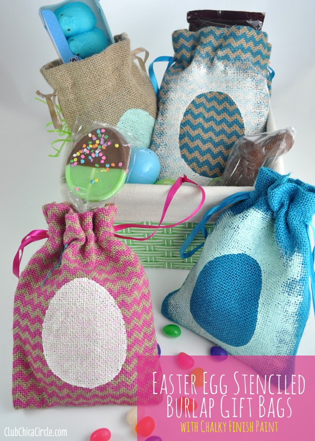 Americana Decor Chalky Finish Easter Stenciled Treat bags