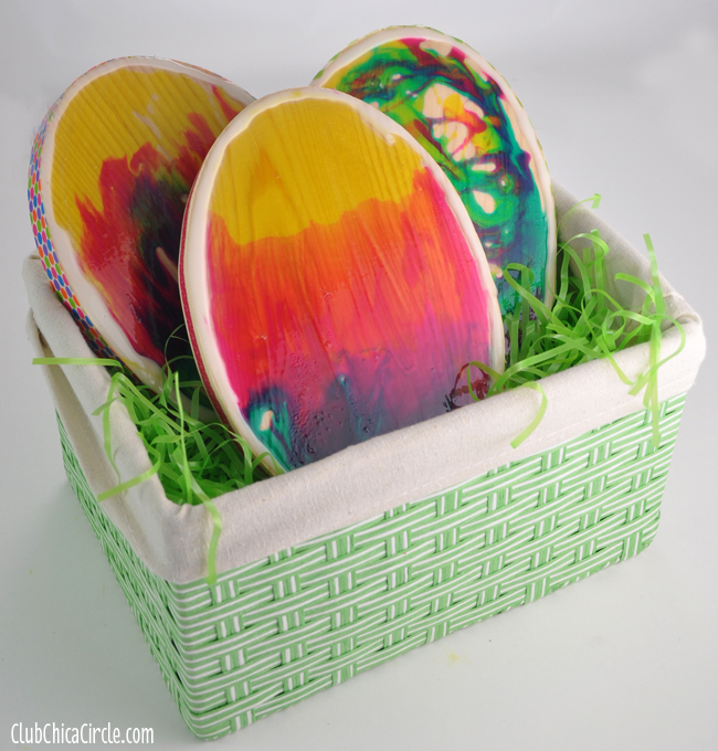 Colorful Glass Stained Easter Egg Basket Home Decor