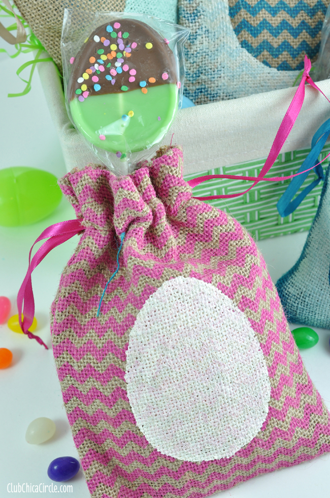 Egg Stenciled treat bags with chalky finish