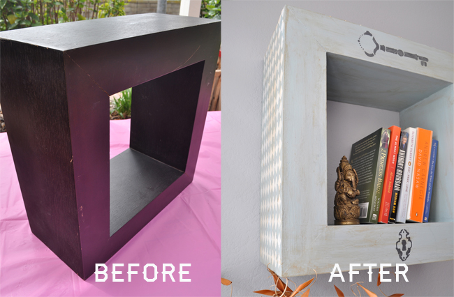 Hanging bookshelf Upcycle DIY before and after @clubchicacircle