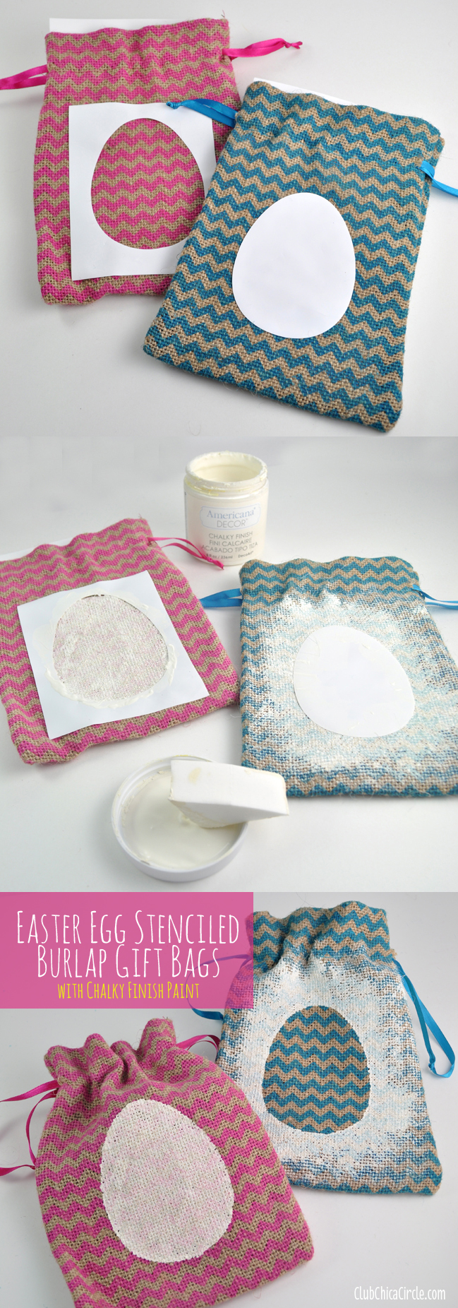 How to Make Chalky Finish Easter Burlap bags