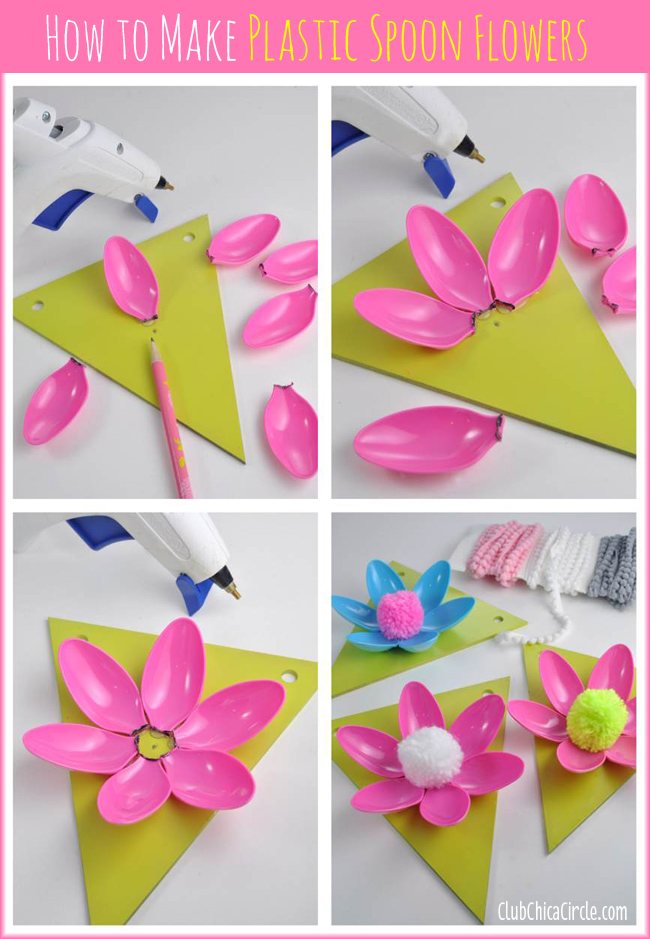 How to make a simple plastic spoon Spring flower garland DIY