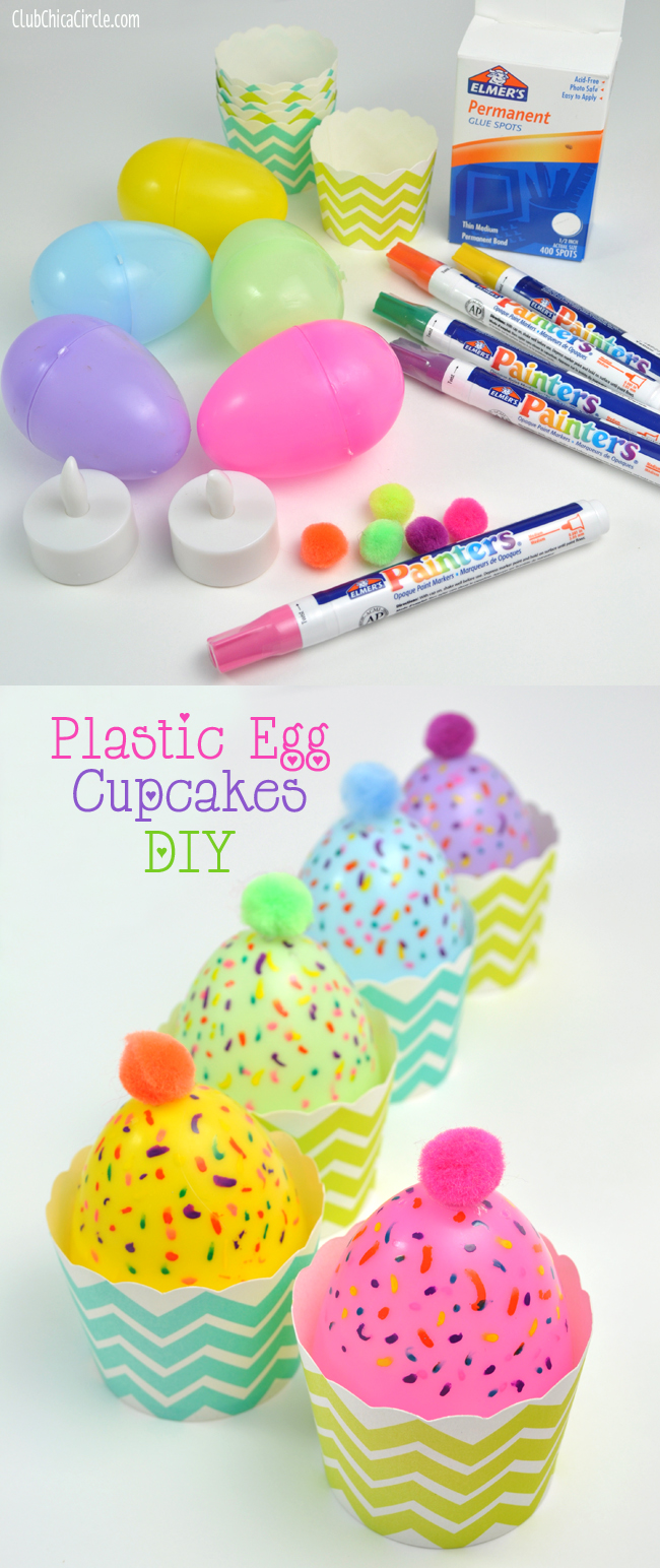 Plastic Egg Candle Cupcakes - easy Easter decoration idea