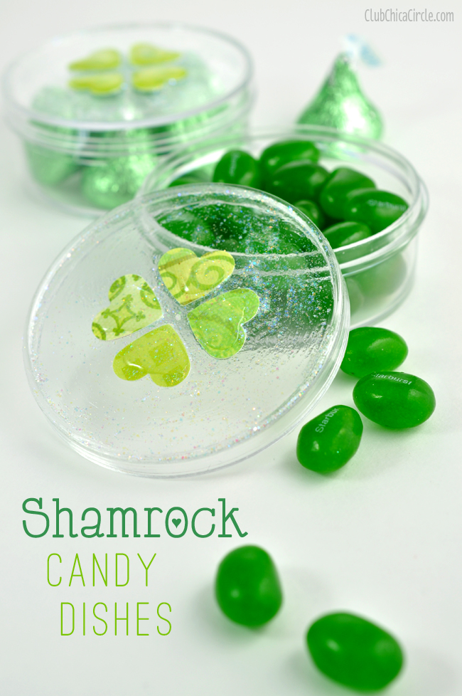 Shamrock candy dish paper and mod podge craft