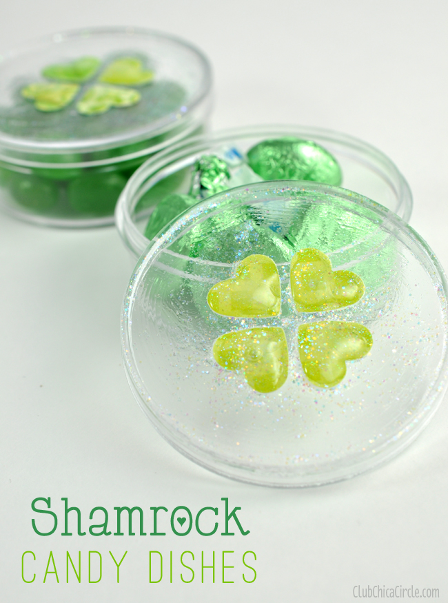 Shamrock heart candy dish St. Patrick's Day easy craft