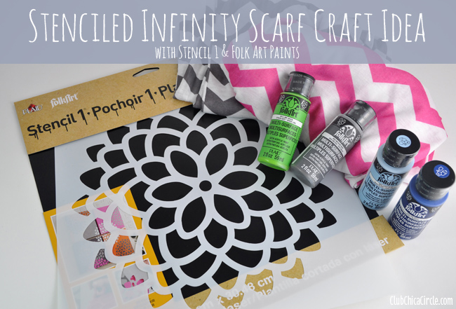 Stencil 1 and Folk Art stenciled infinity scarf supplies