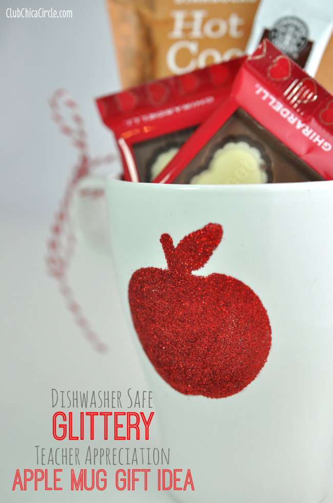 Apple glitter mug homemade teacher gift idea