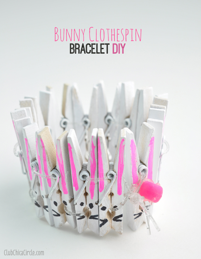Bunny Clothespin bracelet craft idea for kids