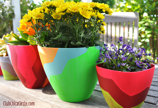 Chevron designed Frog tape spring planters craft idea