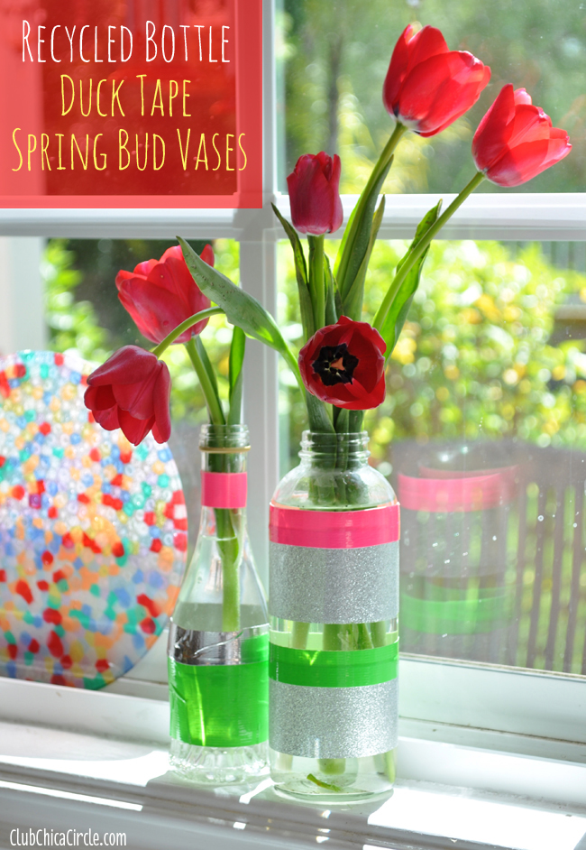 Duck Tape Decorated Spring bud vases