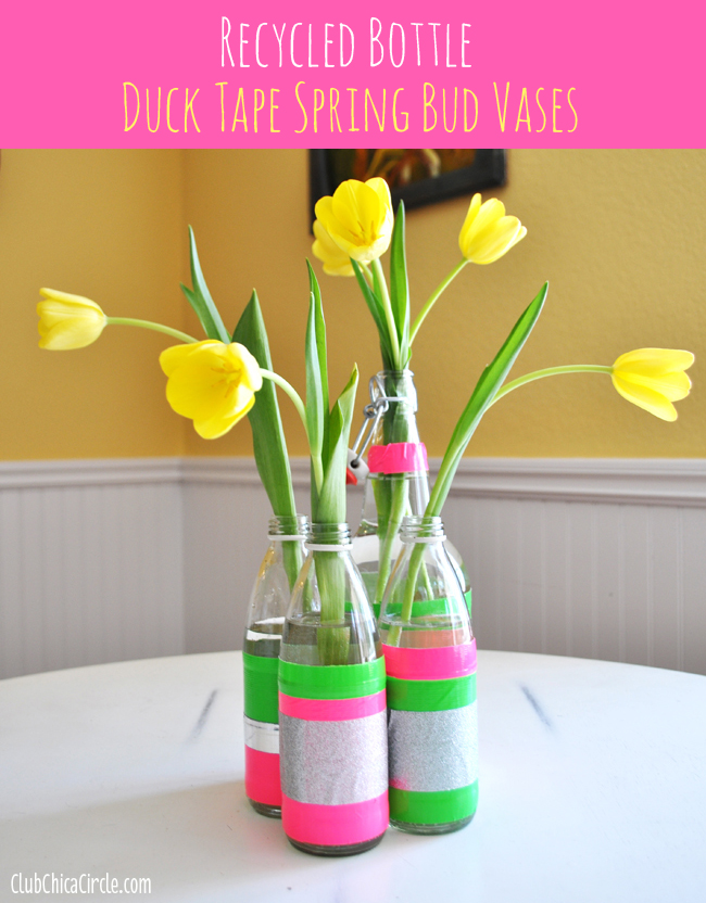 Duck Tape recycled bottles bud vases craft idea for Spring