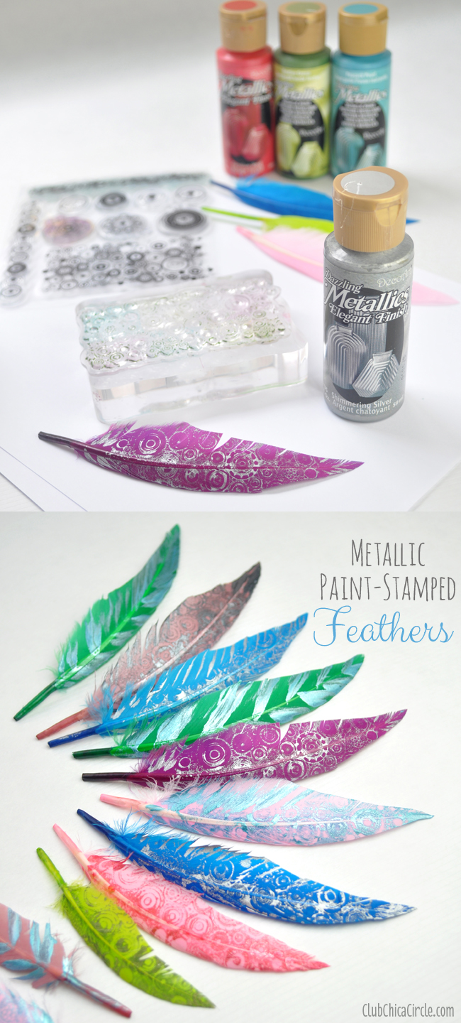 Metallic Paint-Stamped Feather Decorations