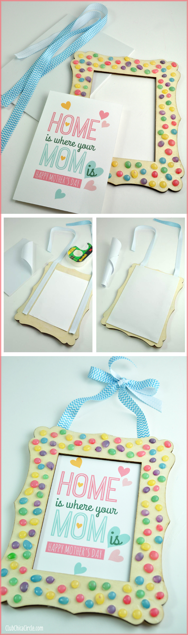 Mother's Day Homemade Frame Craft with painted glue gun dots
