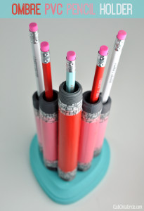 Ombre Painted PVC Pencil holder craft idea
