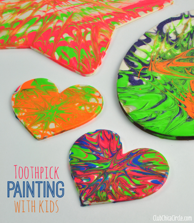 Paint Swirl Toothpick Painted Wood Ornaments