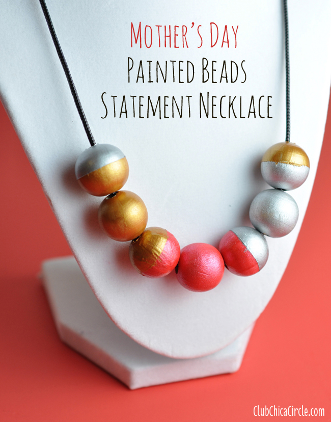 Painted bead necklace mother's day gift idea