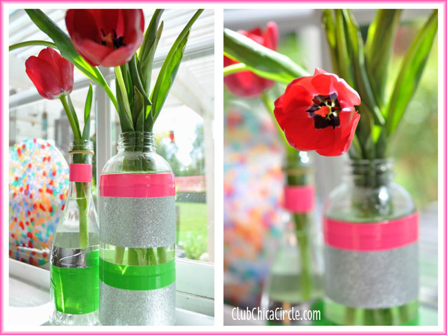 Pretty Spring Bud Vases with Recycled Bottles and Duck Tape