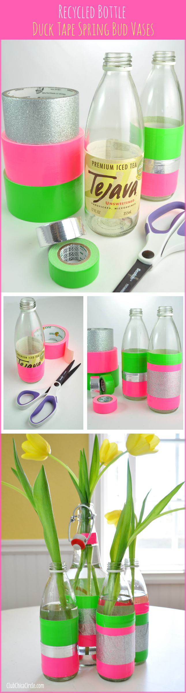 Spring bud vases easy craft idea with Duck Tape