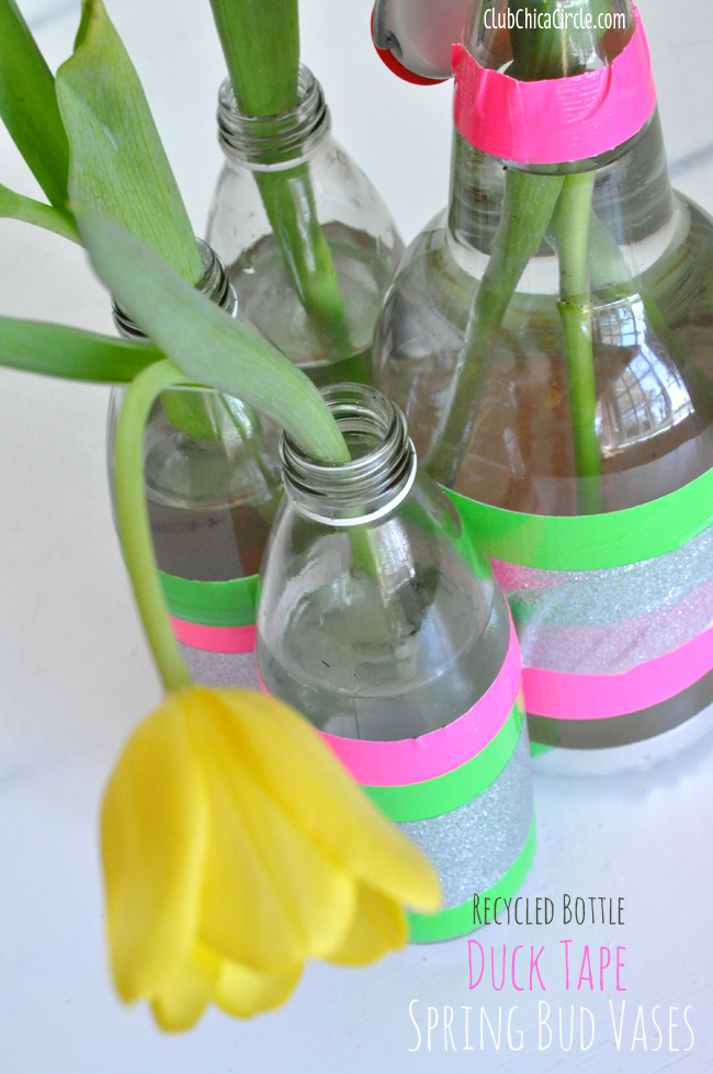 Spring flower vases with Duck Tape