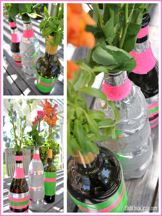 Upcycled Wine Bottle Spring Bud Vases Craft with Duck Tape