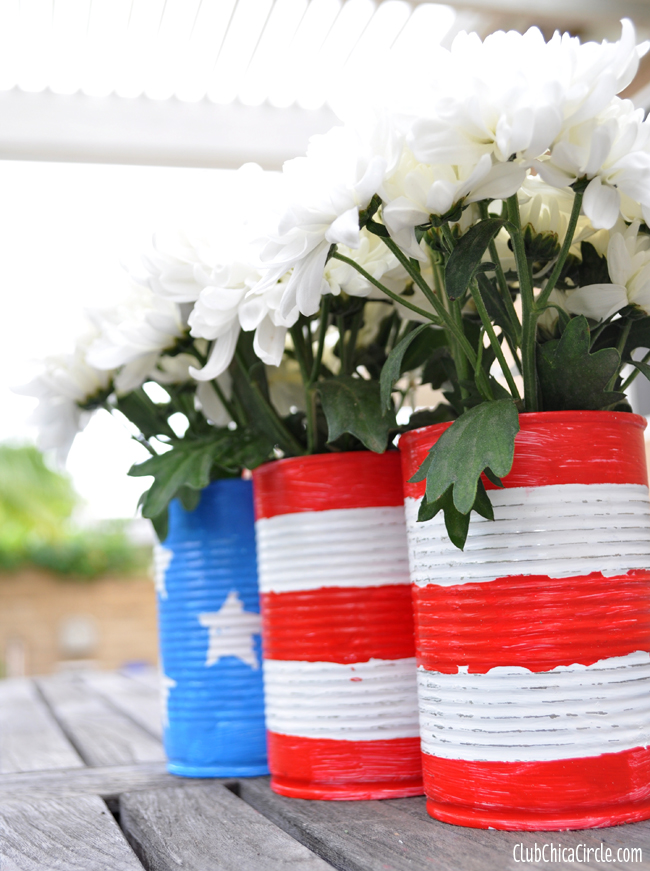 American Flag upcycled cans craft idea