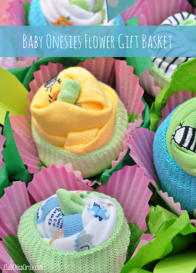 How to make a baby onesie flower gift basket club chica circle baby onesie flower gift basket idea negle Images