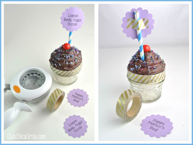 Caulk cupcake with printable tag and washi tape