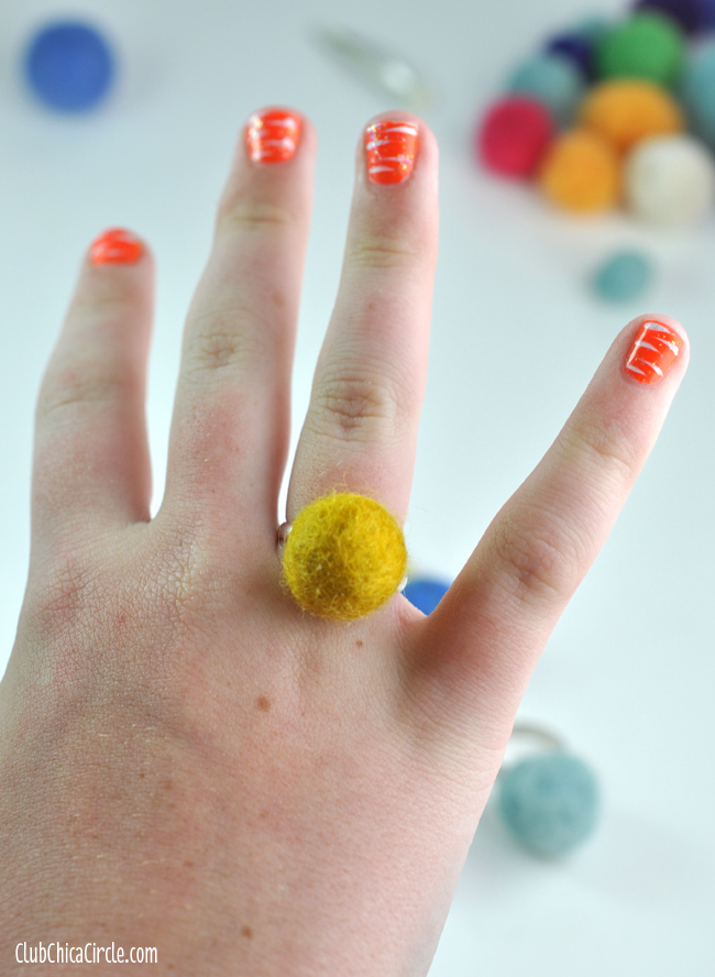 Homemade felt ball ring