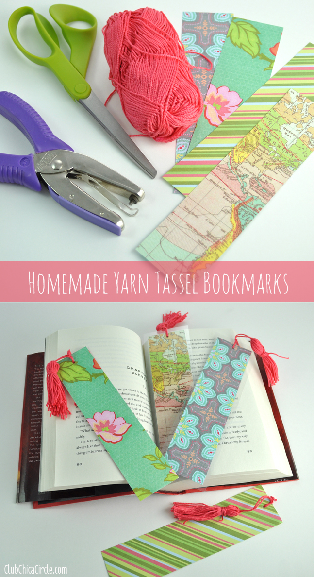 How to make a homemade tassel bookmarks with scrapbook paper