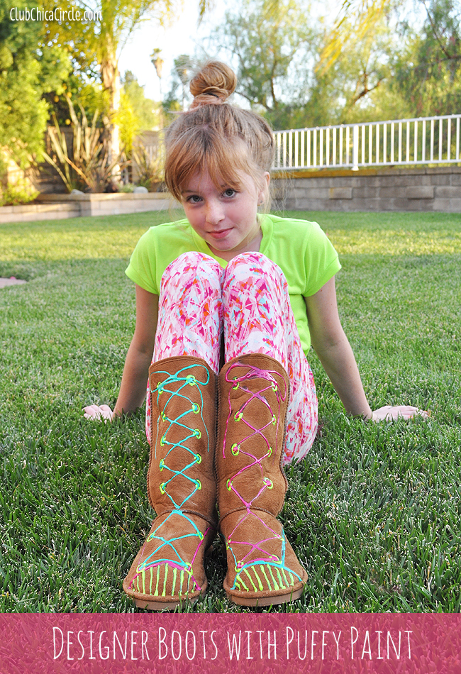 Puffy Paint designed ugg style boots for tweens