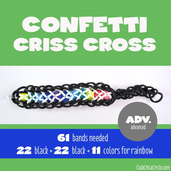 Rainbow Loom Confetti Criss Cross chart