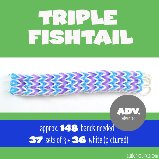 Rainbow Loom Triple Fishtail Bracelet chart