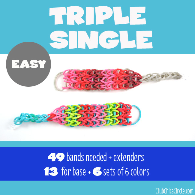 Rainbow Loom Triple Single Bracelet Chart