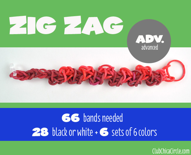 Rainbow Loom Zig Zag bracelet chart